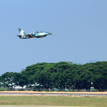 military jet on the air take off