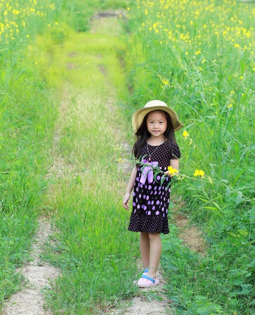 Portrait of beautiful happy little girl in a field of yellow flowers Stock Photo - 13485100