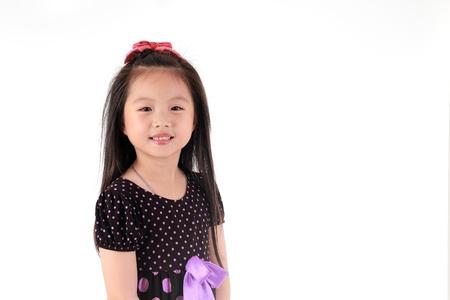 thai teen: Asian girl Portrait isolated white background Stock Photo