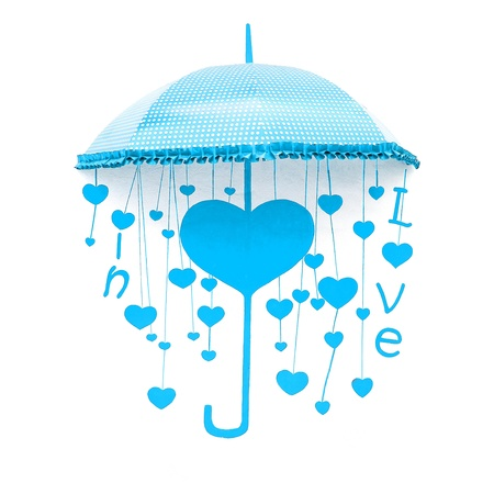 Cyan umbrella with heart and love photo
