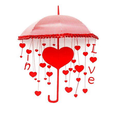 Red umbrella with heart and love photo