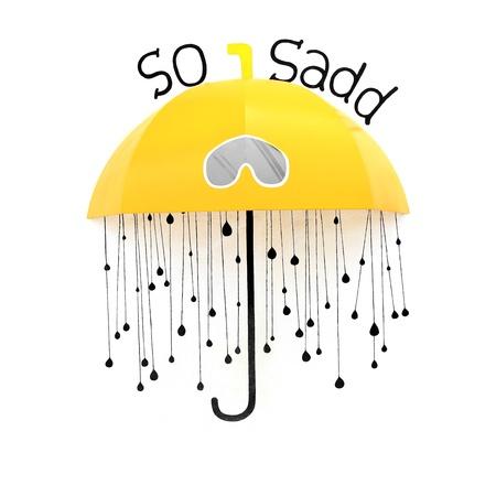 yellow umbrella: Yellow umbrella with rain drops on the wall