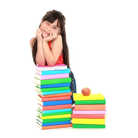 Student little asian girl reading the book Stock Photo - 13597265