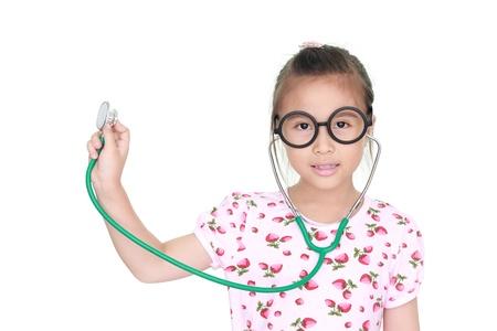 stethoscope isolated on white background: asian little girl with stethoscope isolated white background