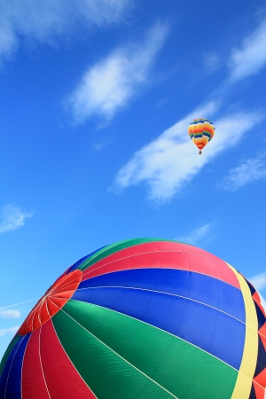 Colorful hot air balloon with beautiful sky photo