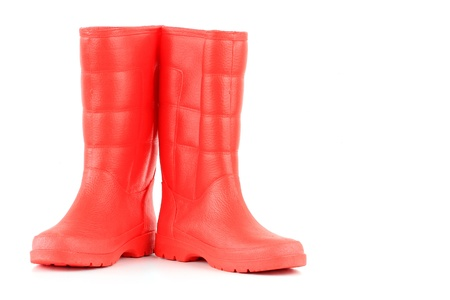A pair of red rainboots isolated on a white background  Stock Photo