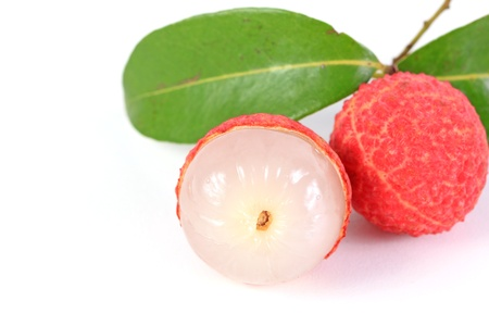 lychee: Fresh lychees isolated on white background Stock Photo