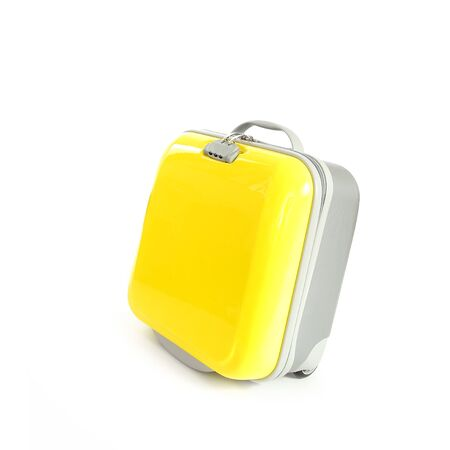 packed: Yellow Suitcase isolated white background