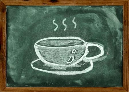 dessin craie: Dessin � la craie de tasse de caf� sur le tableau noir