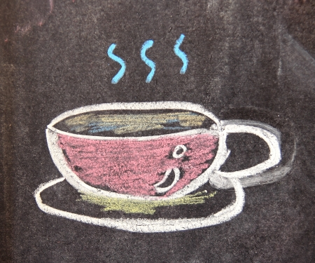 Chalk drawing of coffee cup on the blackboard Stock Photo