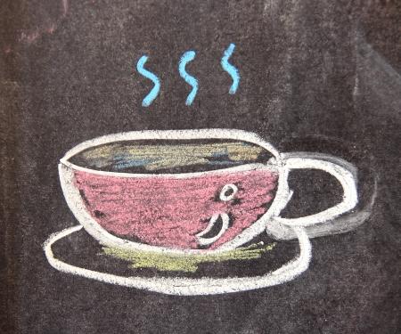 Disegno gesso della tazza di caff� sulla lavagna Archivio Fotografico - 14402918