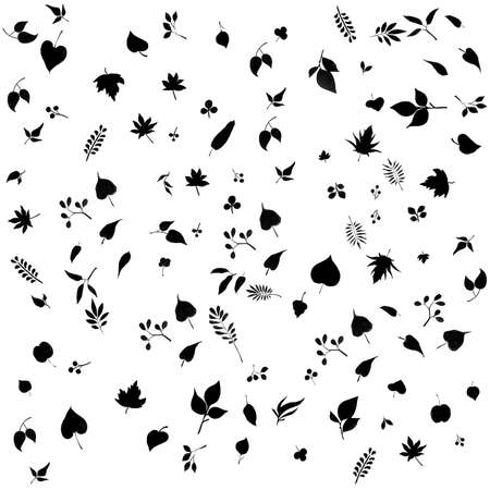 Leafs black silhouette pattern background Stock Photo - 14532312