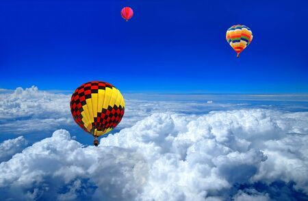 air sport: Hot air balloon in the blue sky