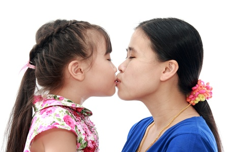 Beautiful woman and her daughter isolated white background photo