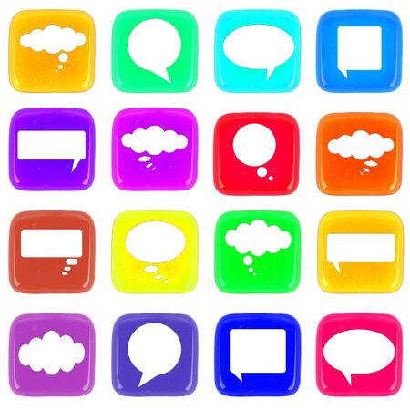 Multicolor icon of honey drop with talk bubbles photo