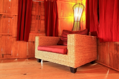 Bamboo sofa in bamboo house photo