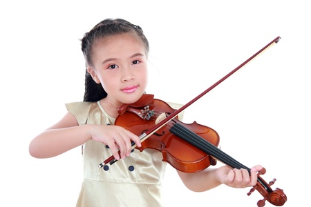 stringed instrument: Happy beautiful girl with violin isolated on white background