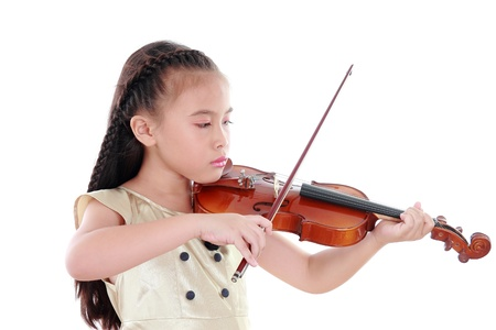 violas: Little girl with violin isolated on white background Stock Photo