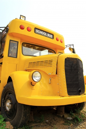 flashers: Front view of yellow school bus  Stock Photo