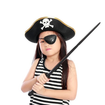 Pirate girl isolated white background photo