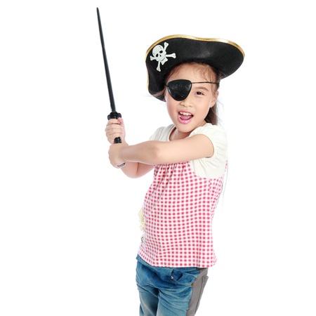 Pirate girl isolated white background Foto de archivo