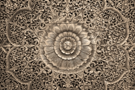 Pattern of flower carved on wood background Stock Photo - 16019629