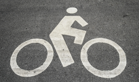Monochrome bicycle road sign photo