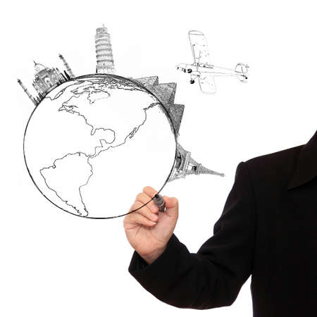 Businessman hand drawing world on white background Stock Photo - 16568061