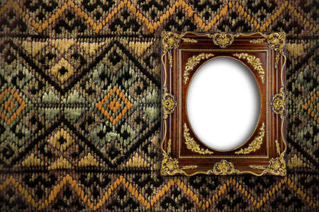 antiqued: gold ornate frame on tradition thai background