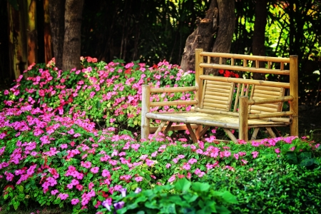 bamboo chair in the park photo