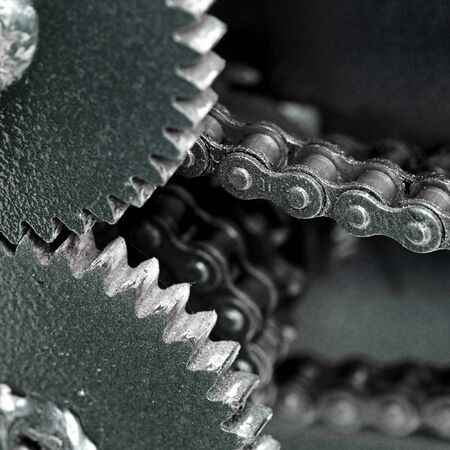 sprocket: Close up of chain gears Stock Photo