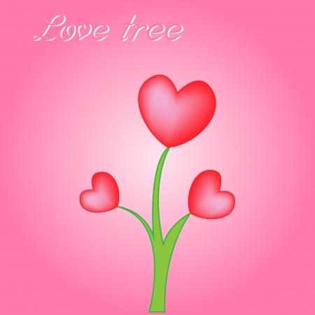 siluetas de enamorados: Corazones rojos árbol