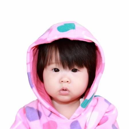 asian baby girl: baby girl isolated on white backbround Stock Photo