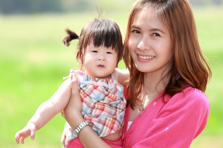healthy asian family: Mother and daughter in the park Stock Photo