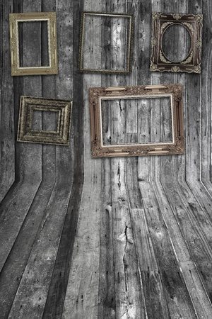 wall and floor wood texture with frame photo