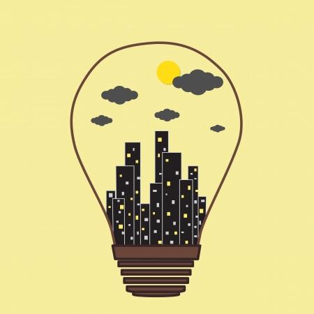 Building in the Light bulb icon, idea concept