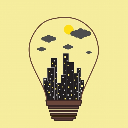 simple background: Building in the Light bulb icon, idea concept