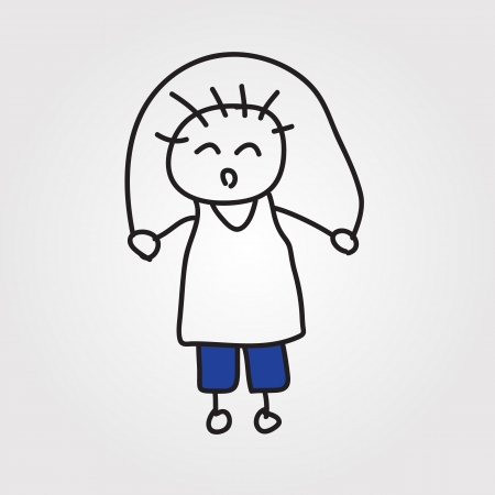 simple girl: children hand drawn