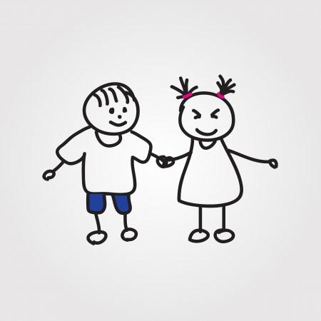 children hand drawn Vector
