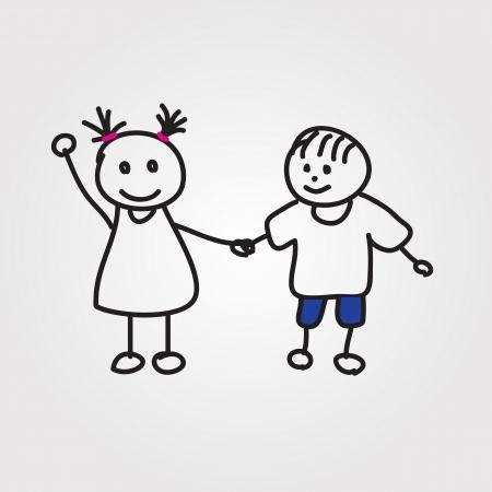 irm�o: crianças mão desenhada Ilustra��o