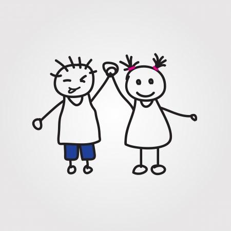 kids holding hands: children hand drawn