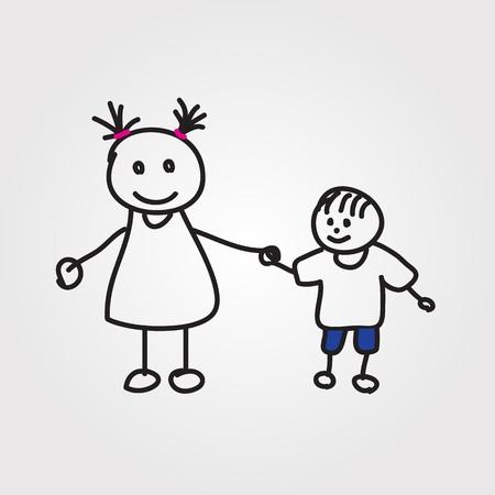 stick figure people: children hand drawn