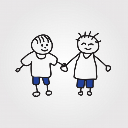 stick children: children  hand drawn