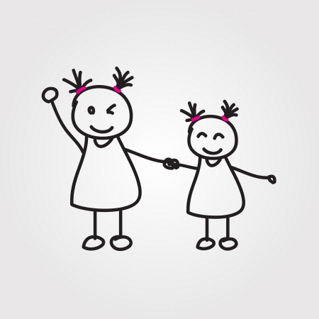 dad daughter: children hand drawn