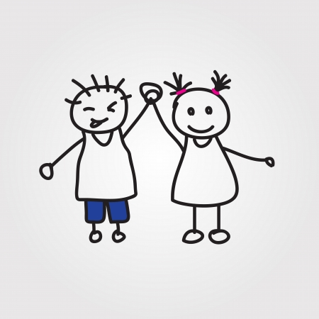 children  hand drawn Vector
