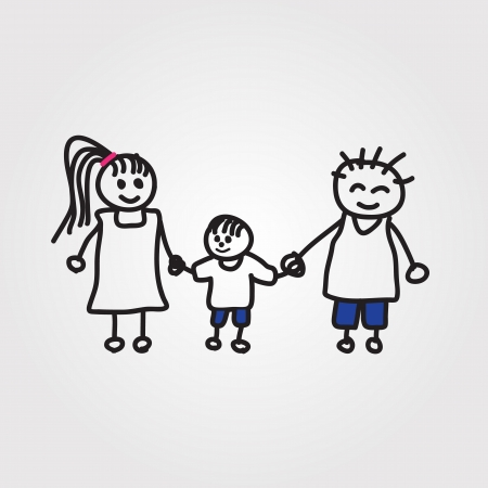 family: children hand drawn
