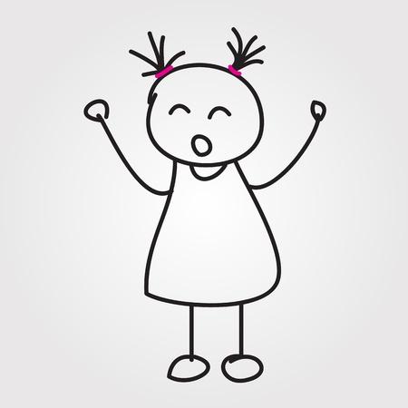 bonhomme allumette: enfants dessin�s � la main