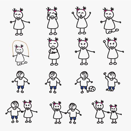 set of child avatars Illustration