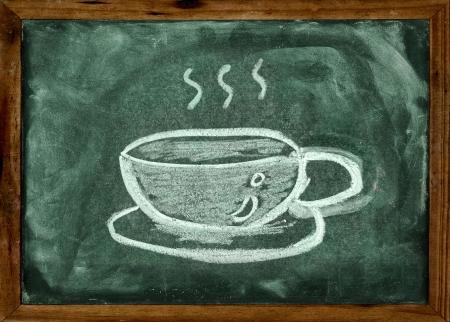 breakfast room: Chalk drawing of coffee cup on the blackboard Stock Photo