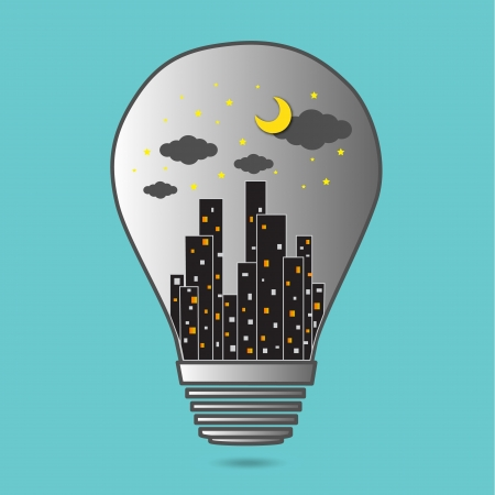 Building in the Light bulb vector icon logo, idea concept Vector